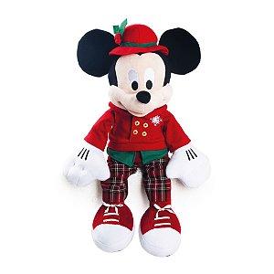 Mickey Pelúcia Roupa Xadrez Vermelho/Verde 30cm Natal Disney - Cromus Natal - Rizzo Embalagens