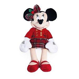 Minnie Pelúcia Roupa Xadrez Vermelho 30cm Natal Disney - Cromus Natal - Rizzo