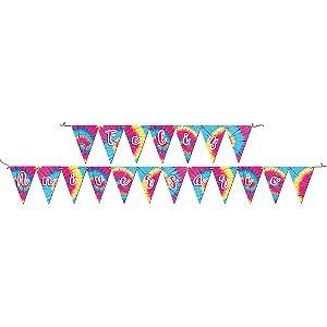 Faixa Feliz Aniversário Festa Tie Dye - 01 Unidade - Festcolor - Rizzo Festas