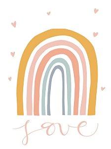 Estampa para Moldura - Love Arco-Íris - 01 unidade - Rizzo Embalagens e Festas