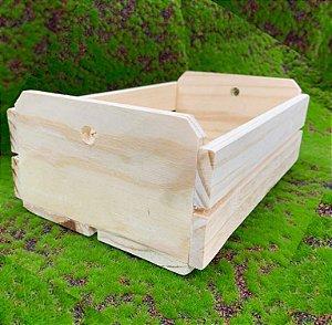 Caixote de Madeira Cru com Alça de Bolinha - 01 unidade - Rizzo Embalagens e Festas