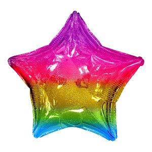 """Balão Metalizado 20"""" Estrela Degradê Arco-íris - Mundo Bizarro - Rizzo festas"""