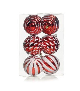 Kit Bolas Texturizadas Vermelho e Branco 8cm - 06 unidades - Cromus Natal - Rizzo Embalagens