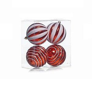 Kit Bolas Texturizadas Vermelho e Branco 10cm - 04 unidades - Cromus Natal - Rizzo Embalagens