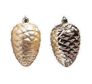 Enfeite para Pendurar Pinha Marfim 10cm - 03 unidades - Cromus Natal - Rizzo Embalagens