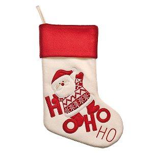 Bota Papai Noel HoHoHo 40cm - 01 unidade - Cromus Natal - Rizzo Embalagens