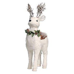 Rena Crespinha em Pé Branco com Guirlanda M 50cm - 01 unidade - Iceland - Cromus Natal - Rizzo Embalagens