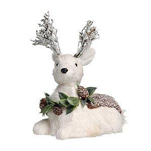 Rena Crespinha Deitada Branco com Guirlanda P 25cm - 01 unidade - Iceland - Cromus Natal - Rizzo Embalagens