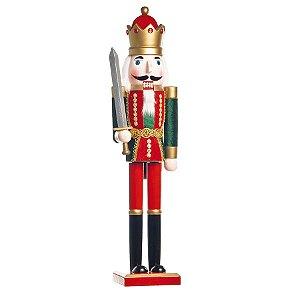Soldado de Chumbo de Madeira Segurando Espada 30cm - 01 unidade - Cromus Natal - Rizzo Embalagens