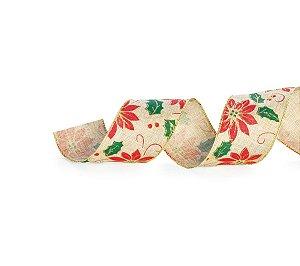 Fita Aramada Natural Azevinho 6,3cm x 9,14m - 01 unidade - Cromus Natal - Rizzo Embalagens