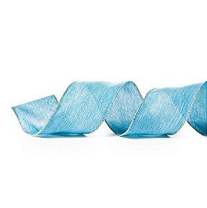 Fita Aramada Azul 6,3cm x 9,14m - 01 unidade - Cromus Natal - Rizzo Embalagens