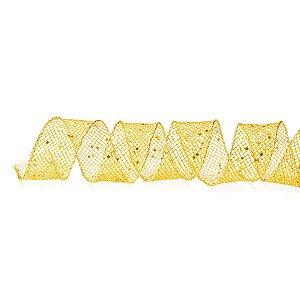 Fita Aramada Telada Ouro com Brilhos 10cm x 9,14m - 01 unidade - Cromus Natal - Rizzo Embalagens