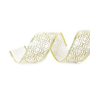 Fita Aramada Colmeia Branco e Ouro 6,3cm x 9,14m - 01 unidade - Cromus Natal - Rizzo Embalagens