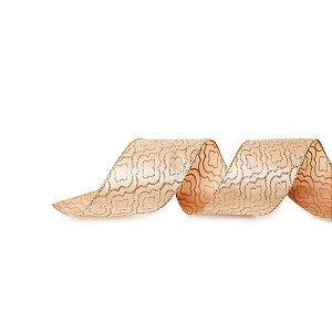 Fita Aramada Colméia Brilhante Nude 6,3cm x 9,14m - 01 unidade - Cromus Natal - Rizzo Embalagens