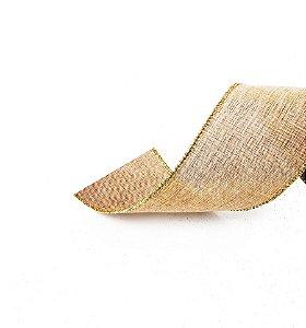 Fita Aramada Juta com Fios Ouro 3,8cm x 9,14m - 01 unidade - Cromus Natal - Rizzo Embalagens
