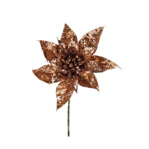 Flor Cabo Curto Rose Gold com Glitter 25cm - 01 unidade - Cromus Natal - Rizzo Embalagens