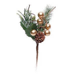 Galho Curto Folhas Frutas Douradas e Pinha 20cm - 01 unidade - Cromus Natal - Rizzo Embalagens