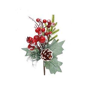 Galho Curto Folhas e Frutas Vermelhas Nevadas 20cm - 01 unidade - Cromus Natal - Rizzo Embalagens