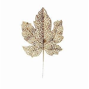Galho Curto Folha Glitter Ouro 15cm - 01 unidade - Cromus Natal - Rizzo Embalagens