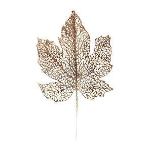 Galho Curto Folha Glitter Nude 15cm - 01 unidade - Cromus Natal - Rizzo Embalagens