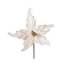 Flor Cabo Curto Poinsettia de Veludo Branco e Ouro 15cm - 01 unidade - Cromus Natal - Rizzo Embalagens