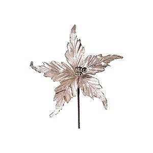 Flor Cabo Curto Poinsettia de Veludo Nude 30cm - 01 unidade - Cromus Natal - Rizzo Embalagens
