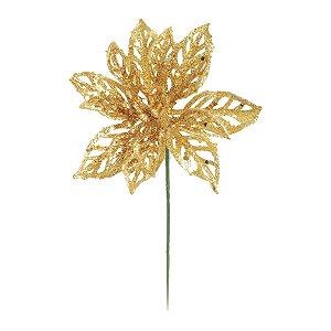 Flor Poinsettia com Glitter Ouro 20cm - 01 unidade - Cromus Natal - Rizzo Embalagens