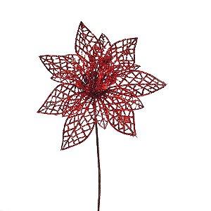 Flor Pétalas Vazadas e Miolo Berry Vermelho 19cm - 01 unidade - Cromus Natal - Rizzo Embalagens
