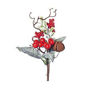 Galho Curto Frutas Vermelhas e Folhas Nevadas 20cm - 01 unidade - Cromus Natal - Rizzo Embalagens