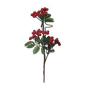 Galho Curto Folhas Frutas Vermelhas 25cm - 01 unidade - Cromus Natal - Rizzo Embalagens