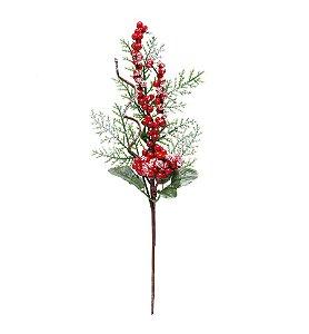 Galho Curto Frutas Vermelho e Folhas Verdes 30cm - 01 unidade - Cromus Natal - Rizzo Embalagens