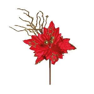 Flor Cabo Curto Poinsettia Vermelho e Glitter Ouro 20cm - 01 unidade - Cromus Natal - Rizzo Embalagens