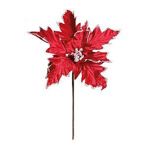 Flor Cabo Médio Poinsettia Vermelho e Branco 35cm - 01 unidade - Cromus Natal - Rizzo Embalagens