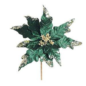 Flor Cabo Curto Poinsettia Azul com Glitter Ouro 20cm - 01 unidade - Cromus Natal - Rizzo Embalagens