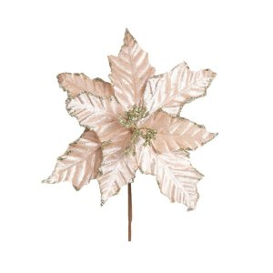 Flor Cabo Curto Poinsettia Nude Veludo Glitter Ouro 30cm - 01 unidade - Cromus Natal - Rizzo Embalagens