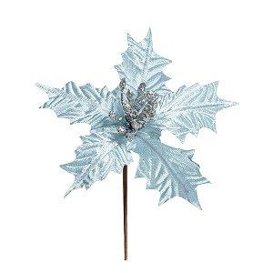 Flor Cabo Curto Poinsettia Azul Claro Veludo 20cm - 01 unidade - Cromus Natal - Rizzo Embalagens