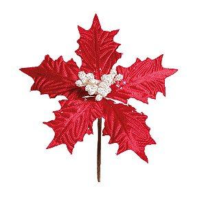 Flor Cabo Curto Poinsettia Vermelho Veludo Miolo Branco 20cm - 01 unidade - Cromus Natal - Rizzo Embalagens