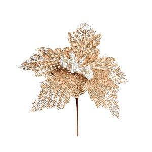 Flor Cabo Curto Poinsettia Cru com Branco 20cm - 01 unidade - Cromus Natal - Rizzo Embalagens