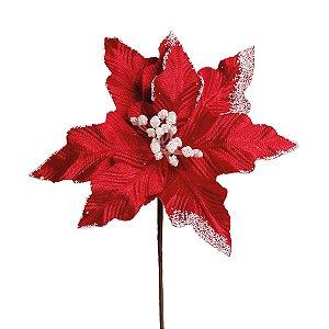 Flor Cabo Médio Poinsettia Vermelho com Branco 35cm - 01 unidade - Cromus Natal - Rizzo Embalagens