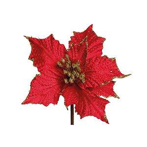 Flor Cabo Curto Poinsettia Vermelho com Ouro 15cm - 01 unidade - Cromus Natal - Rizzo Embalagens