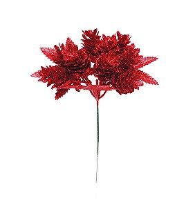 Pick Pinha Vermelho com Glitter 20cm- 01 unidade - Cromus Natal - Rizzo Embalagens