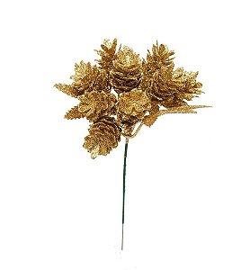 Pick Pinha Dourado com Glitter 20cm- 01 unidade - Cromus Natal - Rizzo Embalagens