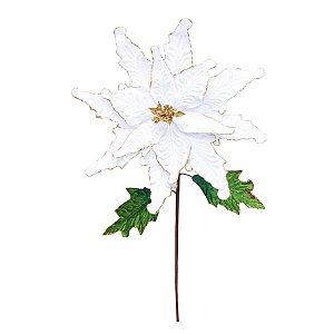 Flor Cabo Longo Branco com Folhas Verdes 65cm - 01 unidade - Cromus Natal - Rizzo Embalagens