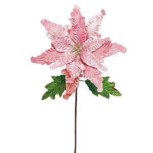 Flor Cabo Longo Rosa com Folhas Verdes 65cm - 01 unidade - Cromus Natal - Rizzo Embalagens