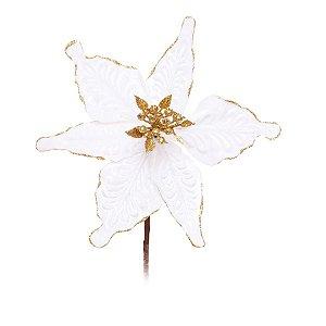 Flor Cabo Curto Branco com Glitter Ouro 20cm - 01 unidade - Cromus Natal - Rizzo Embalagens