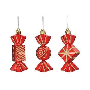 Enfeite para Pendurar Doces Sortidos Vermelho 5cm - 03 unidades - Cromus Natal - Rizzo Embalagens