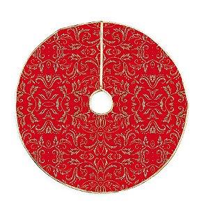 Saia para Árvore com Arabescos Ouro Glitter 120cm - 01 unidade - Cromus Natal - Rizzo Embalagens