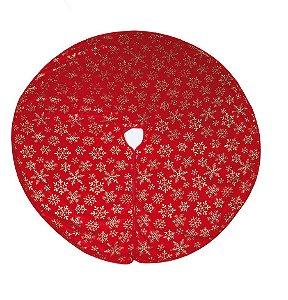 Saia para Árvore Vermelho Flocos de Neve Ouro 120cm - 01 unidade - Cromus Natal - Rizzo Embalagens