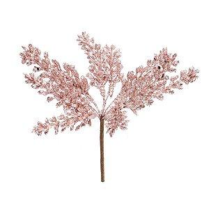 Pick Galho Frutas Glitter Rose Gold 15cm - 01 unidade - Cromus Natal - Rizzo Embalagens