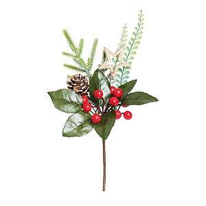 Galho Curto Folhas Frutas Pinha e Estrela 25cm - 01 unidade - Cromus Natal - Rizzo Embalagens